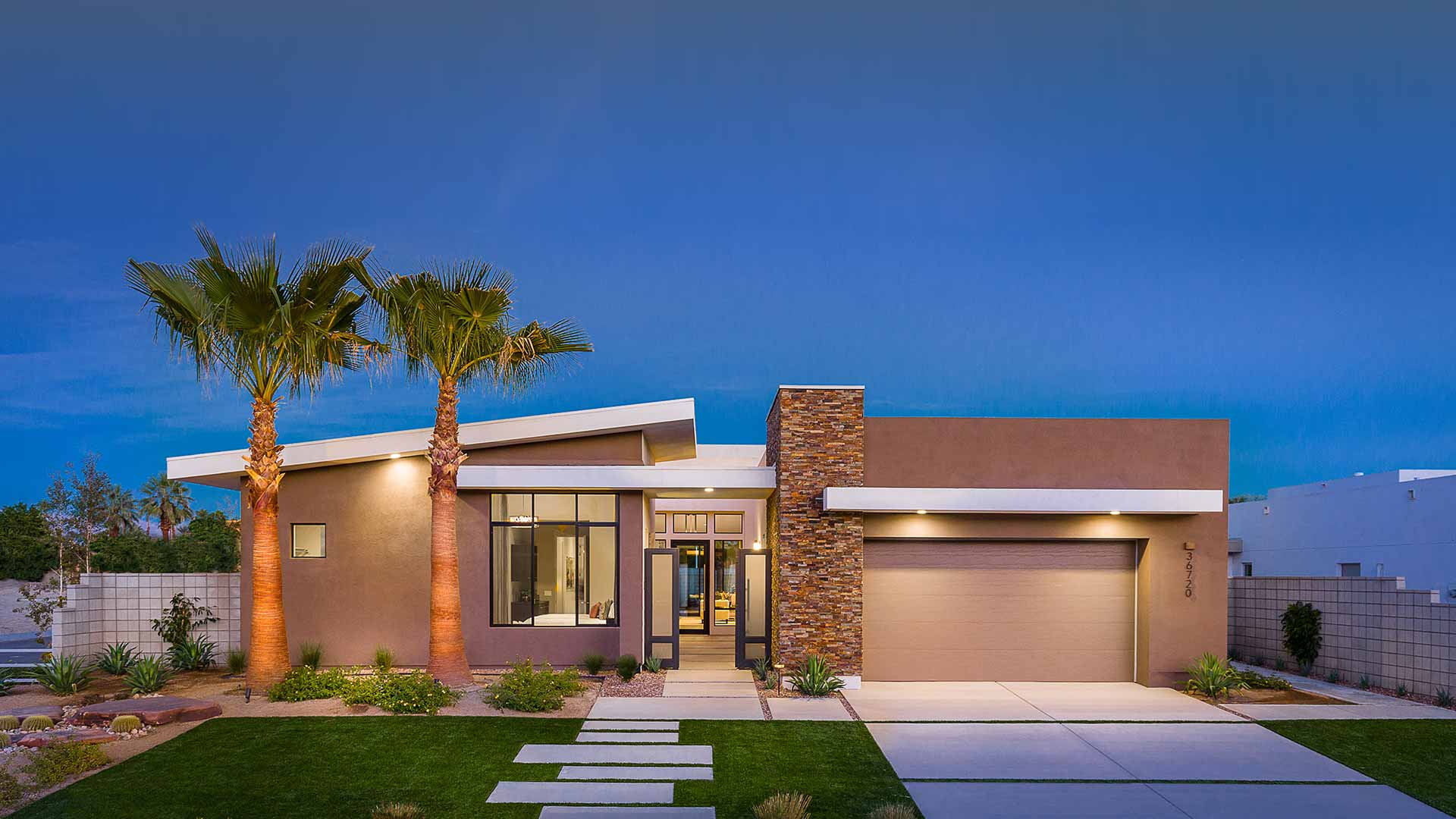 Verlaine model home exterior at night